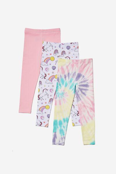 Girls Multipack Legging 3 Pack, RAINBOW UNICORN BUNDLE