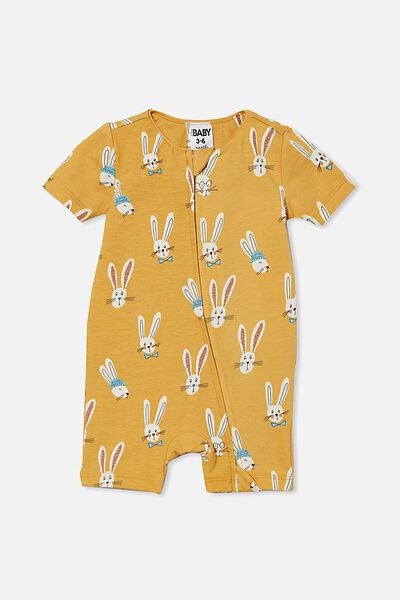 The Snug Short Sleeve Romper, VINTAGE HONEY/BAILEY BUNNY