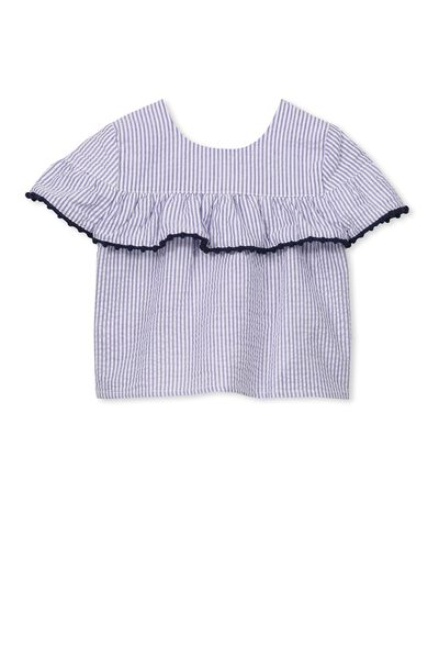 Georgina Flutter Top, VANILLA/BLUE SEERSUCKER STRIPE