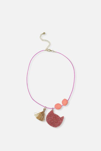 Glitter Charm Necklace, PINK CAT