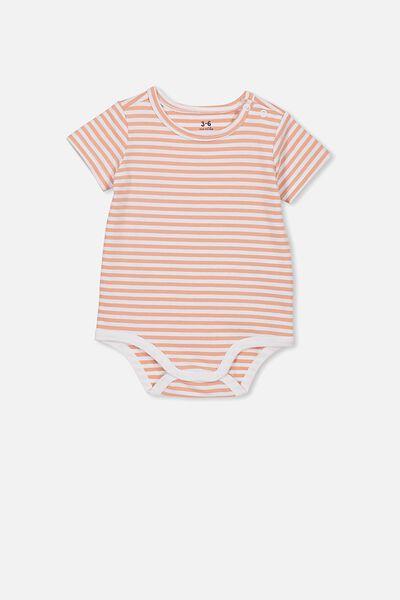 The Short Sleeve Bubbysuit, CHRIS STRIPE WHITE/CAMEO BROWN