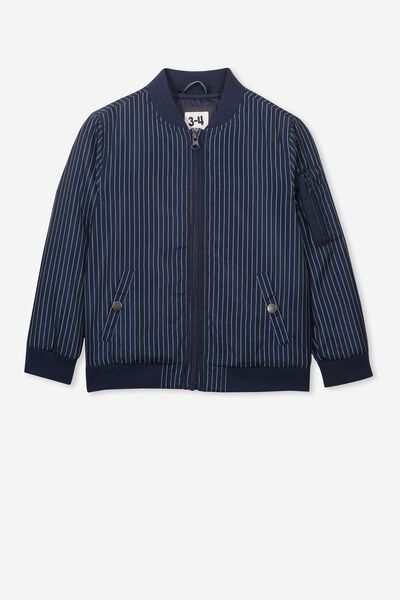 Airforce Bomber, PINSTRIPE NAVY/WHITE