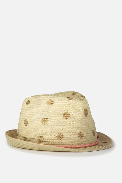 Trilby Hat, ROSE GOLD FOIL SPOT