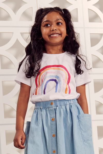 Penelope Short Sleeve Tee, WHITE/PAINTED RAINBOW/MAX
