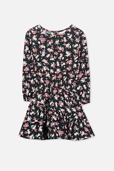 Indiana Long Sleeve Dress, BLACK/DITSY FLORAL