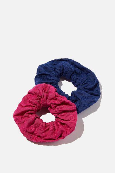 Hannah Hair Ties - Super Scrunchies, NAVY & TULIP DAISY EMBROIDERY