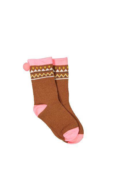 Fashion Kooky Socks, FAIRISLE POM POMS