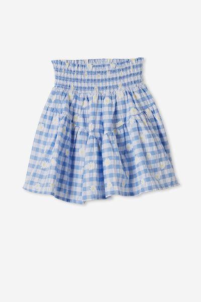 Marigold Skirt, DUSK BLUE GINGHAM/DAISIES