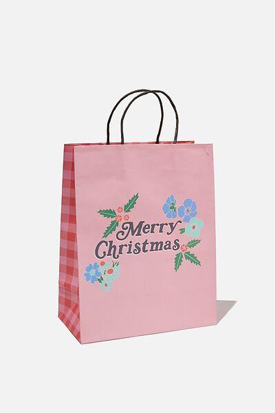 Christmas Gift Bag - Medium, FLORAL CHRISTMAS