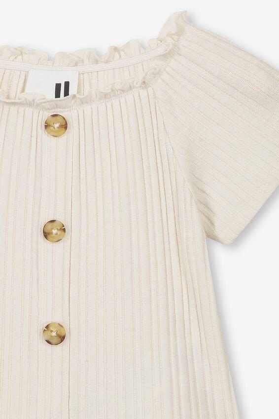 Effie Short Sleeve Button Through Top, DARK VANILLA