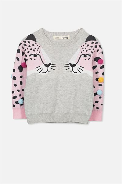 Nancy Knit Jumper, SILVER MARLE LEOPARDS