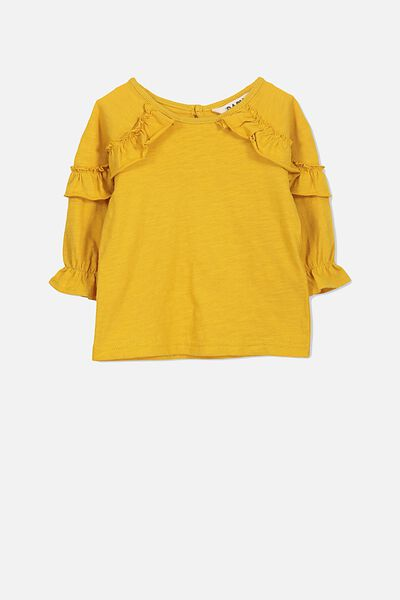 Giselle Ruffle Long Sleeve Tee, MINERAL YELLOW