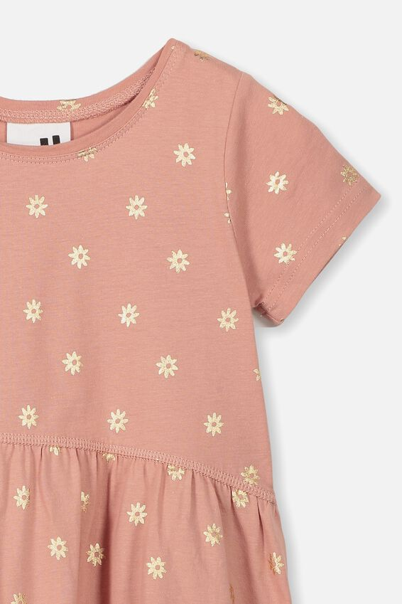 Freya Short Sleeve Dress, CAMEO BROWN/SIMPLE FLORAL