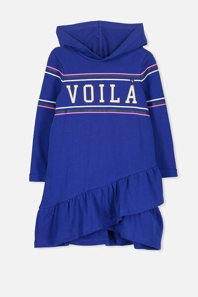 Violet Long Sleeve Hood Dress, ADMIRAL BLUE/VOILA