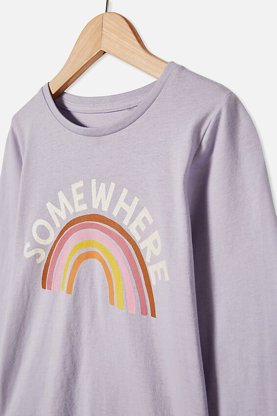 Penelope Long Sleeve Tee, SMOKEY LILAC SOMEWHERE OVER THE RAINBOW