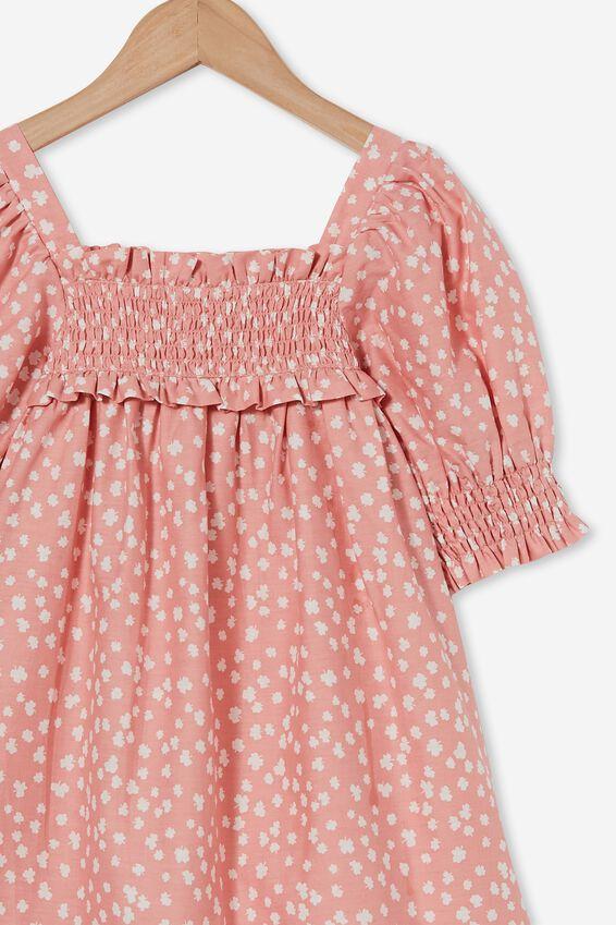 Lana Short Sleeve Dress, MUSK ROSE/AIREYS LUCKY FLORAL
