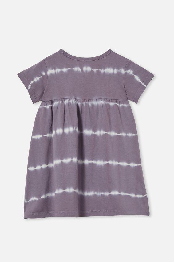 Kendall Short Sleeve Dress, DUSK PURPLE LINEAR TIE DYE