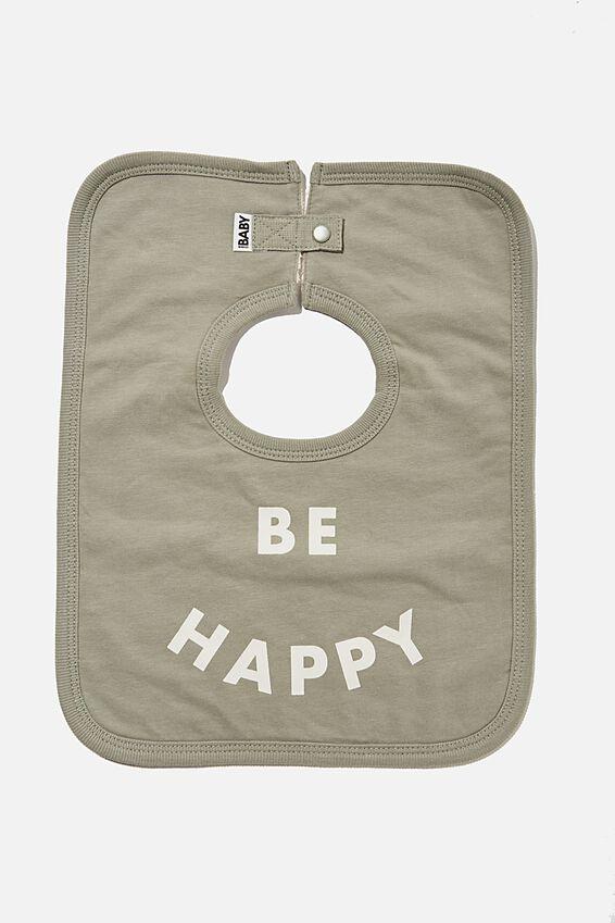 The Square Bib, SILVER SAGE/BE HAPPY