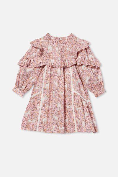Deonne Long Sleeve Dress, UNICORN GARDEN