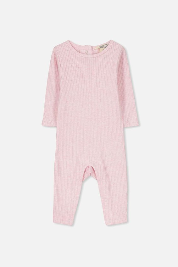 The Snug Rib Snap Romper, PINK MARLE