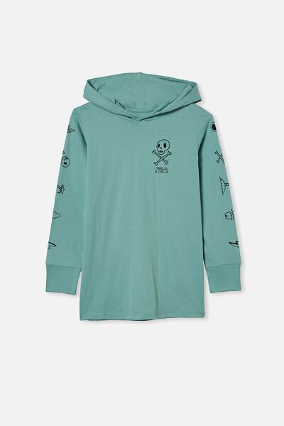 Jackson Hooded Long Sleeve Tshirt, RUSTY AQUA/THRILLS AND CHILLS