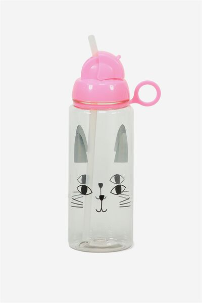 Spring Drink Bottle, SILVERY BOLD CAT