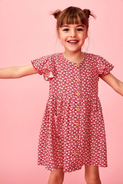 Vanessa Short Sleeve Dress, LUCKY RED/CHERRIES