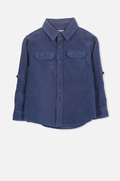 Noah Long Sleeve Shirt, INDIGO BLUE CORD