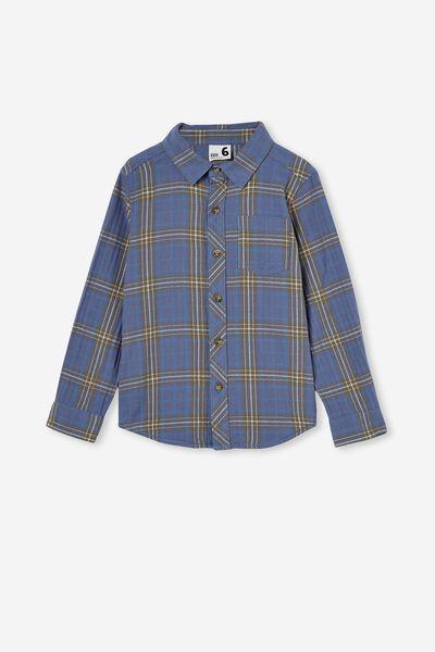 Rugged Long Sleeve Shirt, DUSTY BLUE PLAID