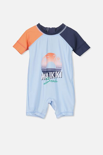 Short Sleeve Harris One Piece Swimsuit, ARTIC BLUE/WALKIKI