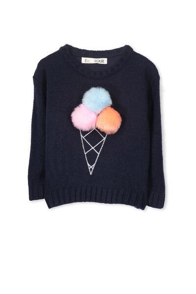 Nancy Knit Jumper, PEACOAT/ICECREAM