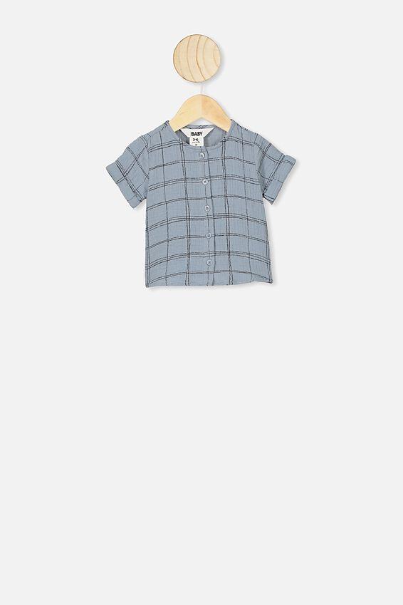 Mike Short Sleeve Shirt, RAIN CLOUD/SKETCHY GRID