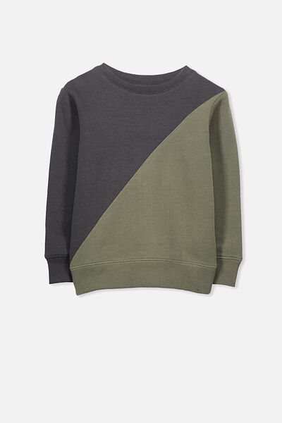 Lachy Crew Jumper, GRAPHITE/CLIVE GREEN SPLICE