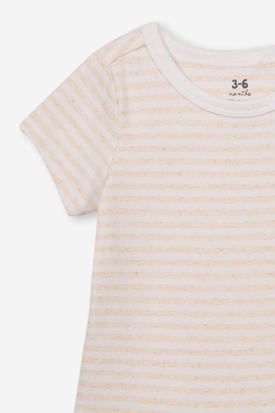 The Short Sleeve Bubbysuit, CHRIS STRIPE CARAMEL MARLE/WHITE