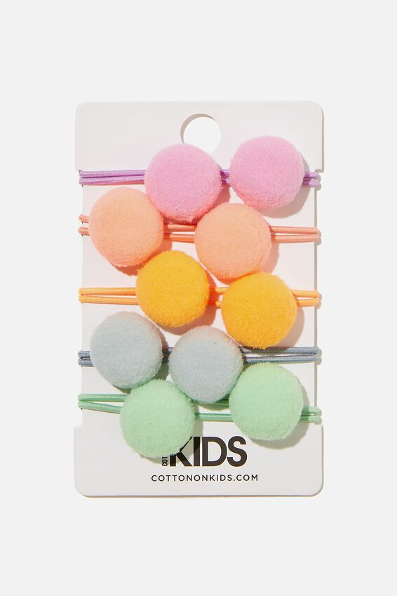 Knot Messy Hair Ties - Round, HAPPY COLOUR POM POMS