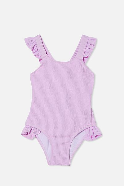 Amber Rib Frill One Piece, PALE VIOLET