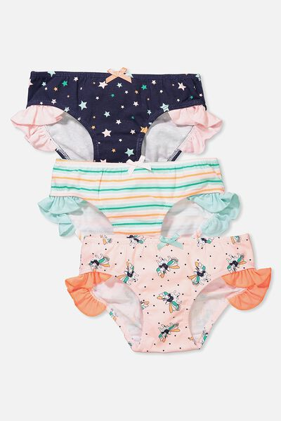 Girls Ruffle Undie Pack, PUG-A-CORN MIX