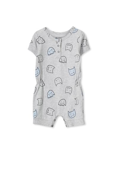 Mini Ss Slouch Romper, CLOUD MARLE/MONSTER HEAD