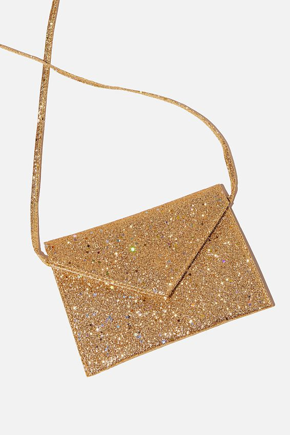 Glitter Envelope Ashley Party Bag, GOLD GLITTER