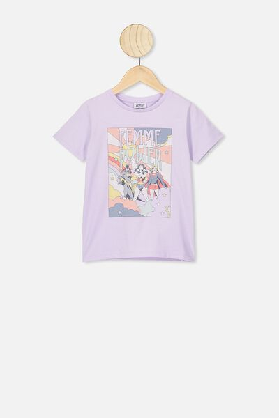 Lux Short Sleeve Tee, LCN WB VINTAGE LILAC/JUSTICE LEAGUE FEMME POWER
