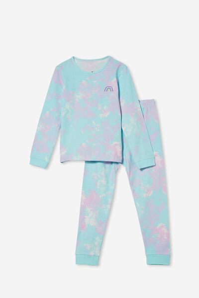 Florence Long Sleeve Pyjama Set, TIE DYE RAINBOW/DREAM BLUE