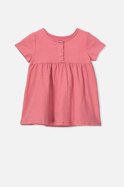 Milly Short Sleeve Dress, RUSTY BLUSH