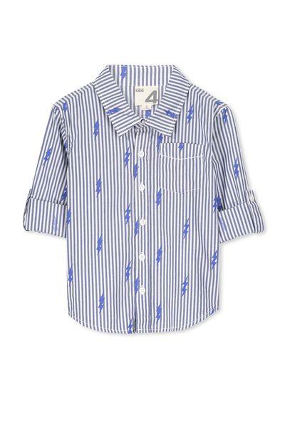 Noah Long Sleeve Shirt, VANILLA/BLUE LIGHTINING BOLT