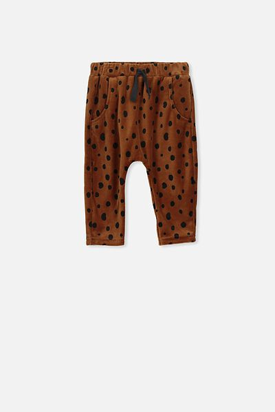 Shelby Velour Trackpant, TOFFEE/ANIMAL SPOT
