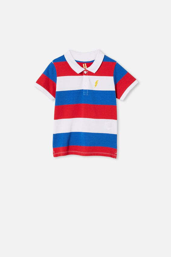 Kendricks Polo, WHITE/RED/BLUE/STRIPE