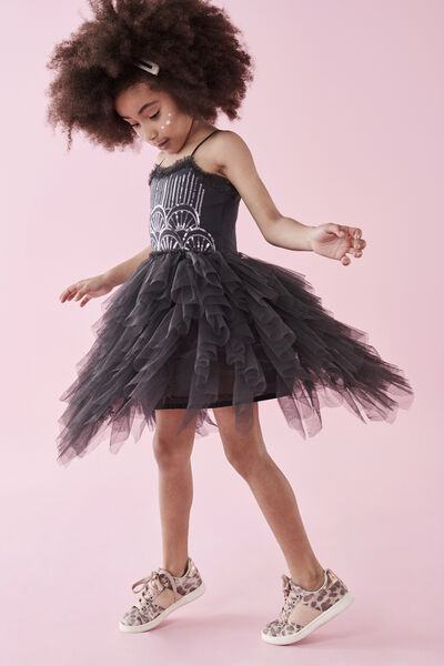 Iris Tulle Dress, PHANTOM/SEQUIN DECO