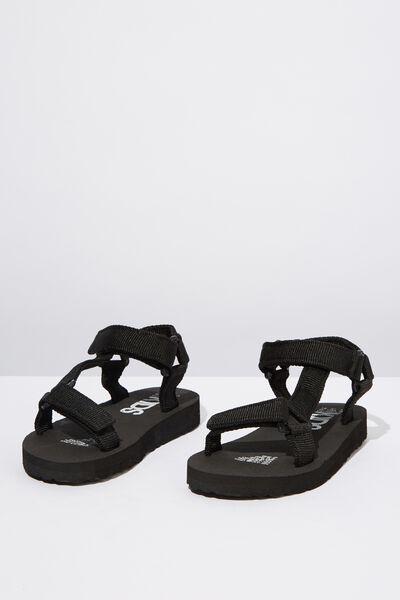 Charlie Woven Strap Sandal, BLACK