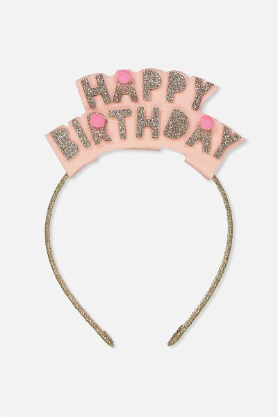 Happy Birthday Headband, GOLD