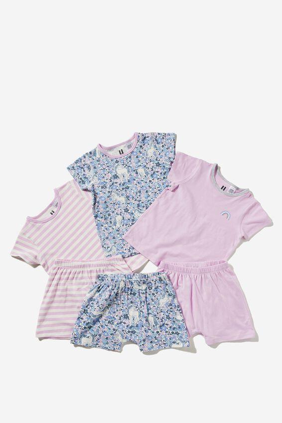 Multipack Harpa Short Sleeve Pyjama Set, UNICORN GARDEN