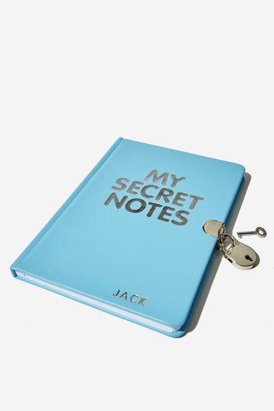 A5 Secret Notebook Personalisation, BLUE SECRET